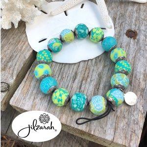 Jilzara Mandala Blue & Green Bead Stretch Bracelet
